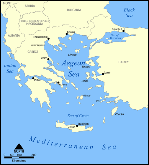 map of the Aegean
